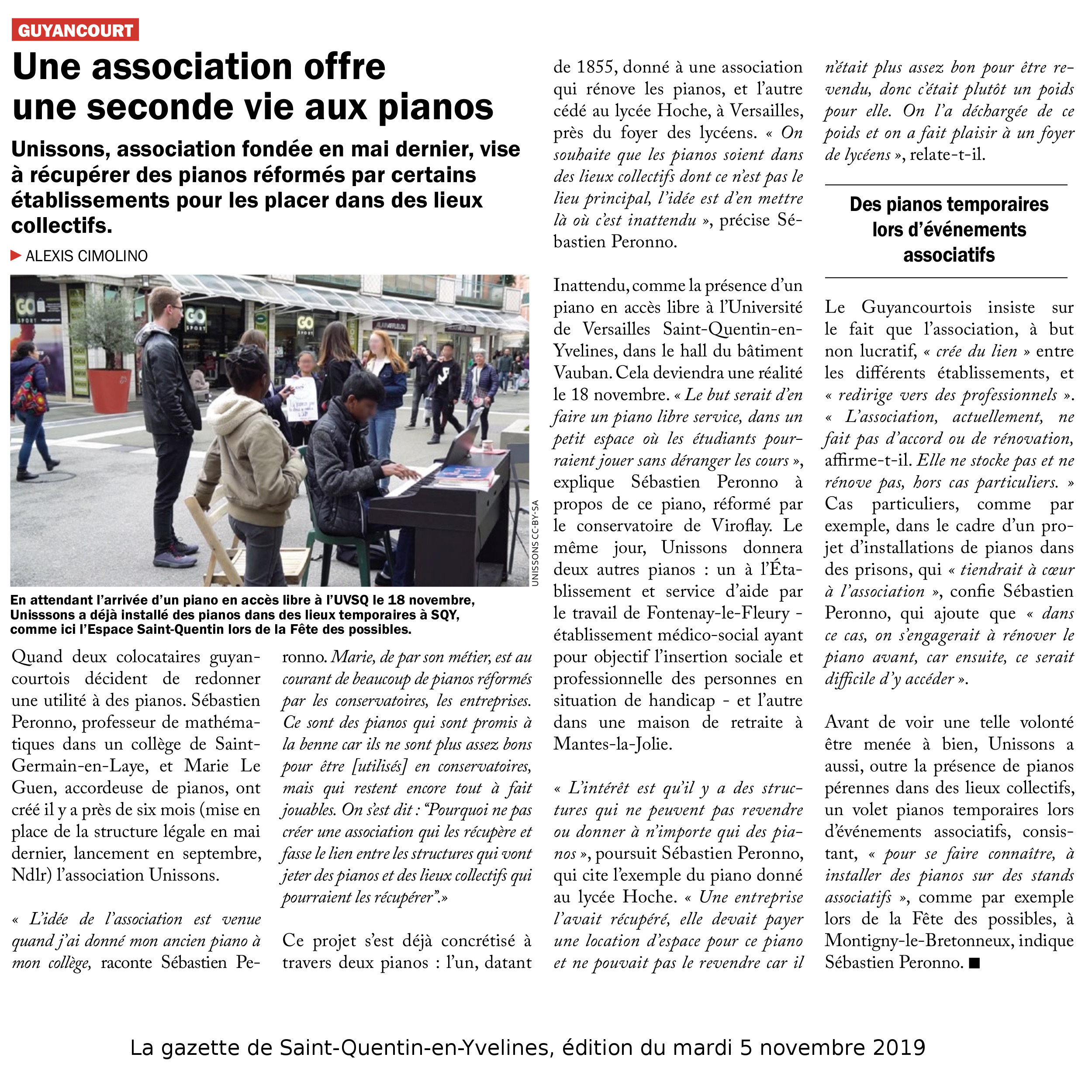 Article dans la gazette de SQY